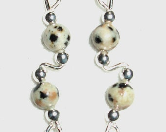 DALMATION JASPER and Sterling Silver Ear Slides Climber Crawlers