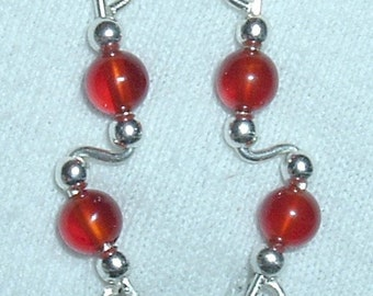 CARNELIAN and Sterling Silver Ear Slides Climber Crawlers