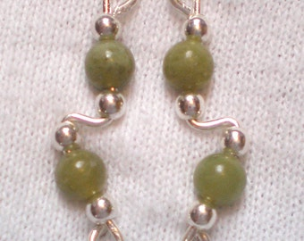 OLIVINE JADE and Sterling Silver Ear Slides Climber Crawlers