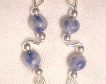DENIM LAPIS LAZULI and Sterling Silver Ear Slides - Earrings Climber Crawlers