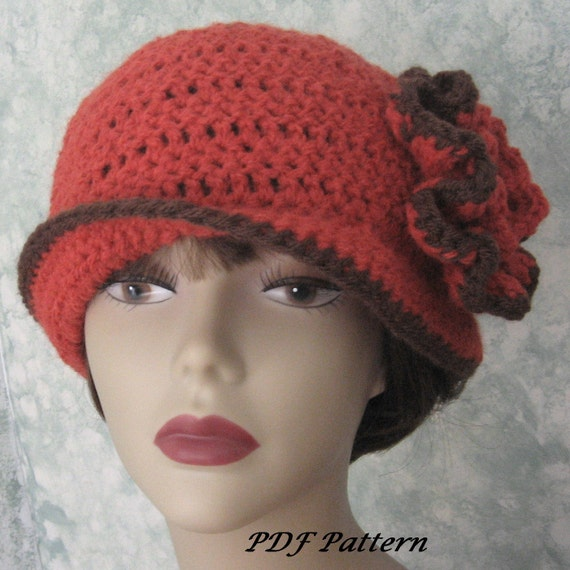 Womens Crochet Hat Pattern With Double Flower Trim Easy To Etsy