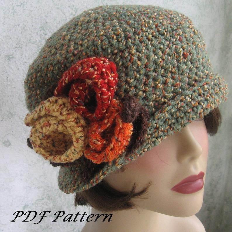 6ffa47229c6dfd Crochet Pattern Womens Flapper Hat Downton Abbey Style With | Etsy