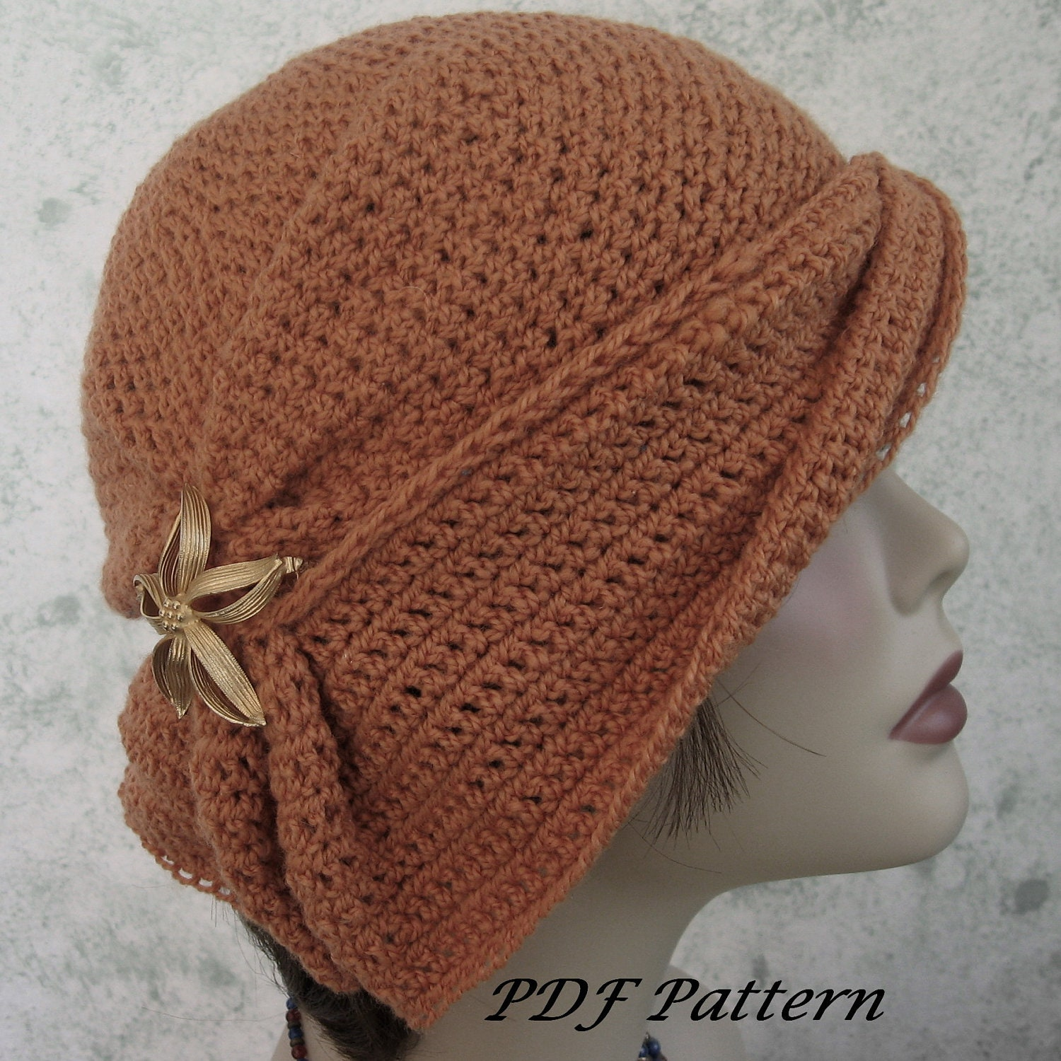 Crochet Hat Pattern Womens Cloche With Side Gathers And Draped Etsy