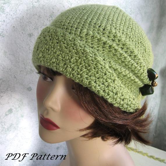 Crochet Pattern Womens Flapper Hat Cloche With Side Pinch