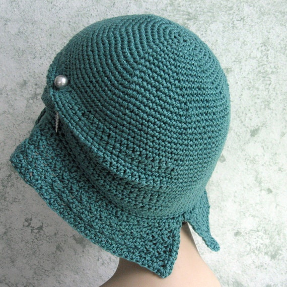 Womens Crochet Hat Pattern Flapper Cloche With Large Brim Etsy