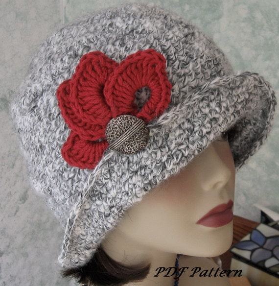 Crochet Hat Pattern Flapper Style With Brim Petal Trim And Etsy