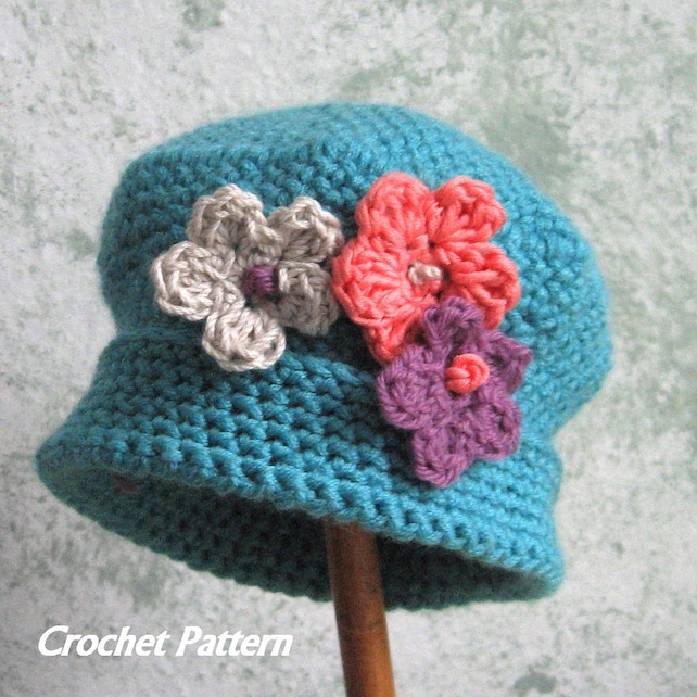 Spring Baby Crochet Hat Pattern With Flower Trim Instant Etsy