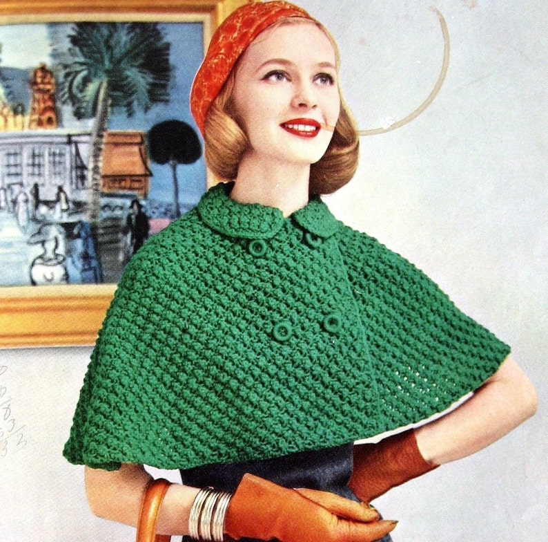 d9a5b7bb4754aa Womens Knitted Cape Pattern With Double Breasted Closure