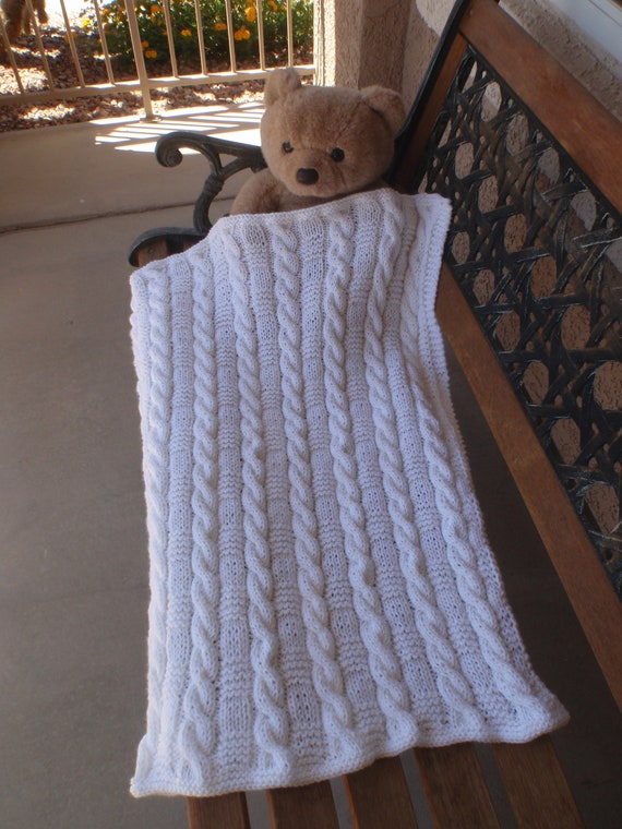 White Unisex Gorgeous Hand Knitted Baby Blanket