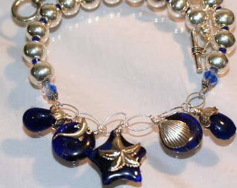 Free Ship, Cobalt Blue,  Kiln Formed Glass, Starfish, Shells, Sandwich Glass, Whale, Nautical, Sterling Silver, Seaside, Ocean Theme