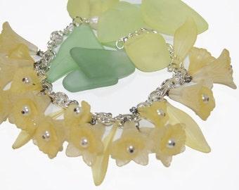 Bracelet All Yellow Lucite Flowers Charm Bracelet  White Pearls