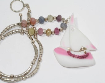 Sailboat Necklace Recycled Antique Sandwich Glass Pink and White Sailboat with Pink Tourmaline Gemstone Necklace