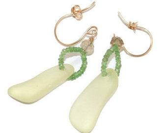 Glass Earrings, Lemon Yellow, Cape Cod Glass, Sandwich Glass Earrings, Green Emerald Gemstones