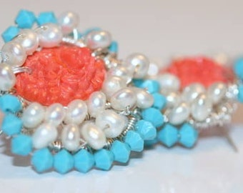 Earrings, Hand Made, Artisan Earrings, Turquoise, Coral, Pearl, Swarovski, Button Earrings, Mid Century Style Earrings
