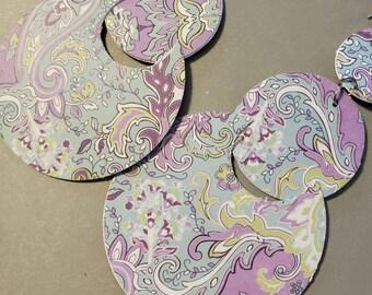 Earrings, Recycled Paper Earrings, Circle Earrings, Statement Earrings, Shoulder Dusters, Paisley, Paper Earrings, Mid Century