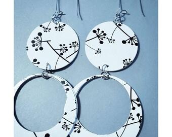 Earrings, Recycled Paper, Hoop Earrings, Black and White, Mid Century Earrings, Shoulder Dusters