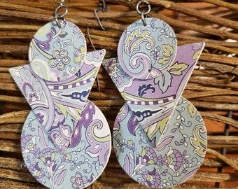 Earrings, Recycled Paper, Geometric Earrings, Paisley, Retro, Lavendar, Purple, Mid Century