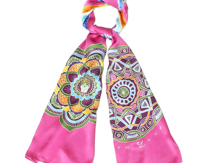 Hand painted silk scarf with Mandala and Egyptian winged scarab