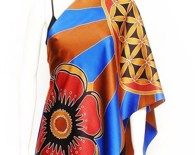 Silk scarf with flower of life sacred geometry and flower mandalas