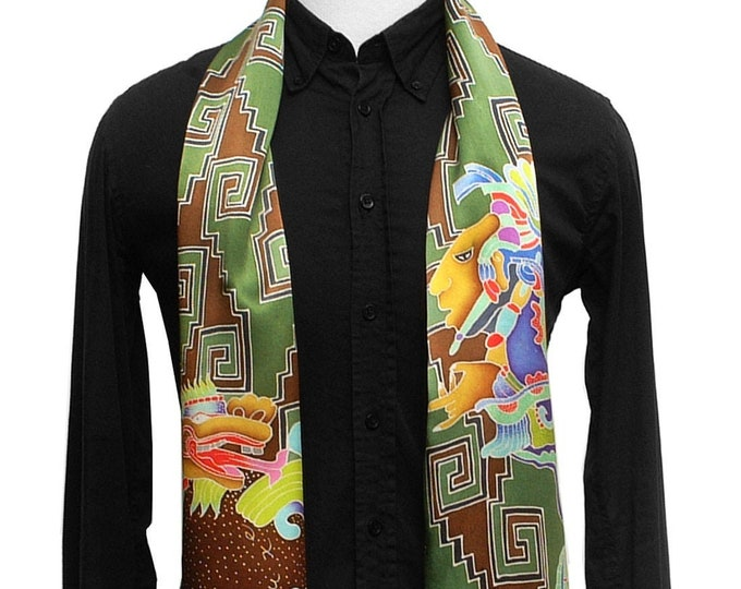 Mens Mayan painted silk scarf with Vision serpent and Quetzalcoatl