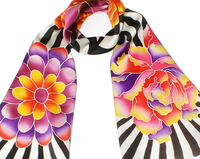 Hand painted silk scarf with colorful flowers