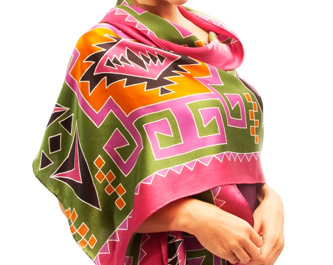 Silk scarf handpainted with colorful tribal pattern