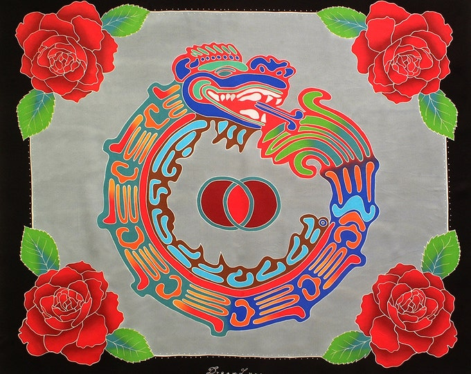 Square handmade silk scarf with Aztec sacred geometry and roses