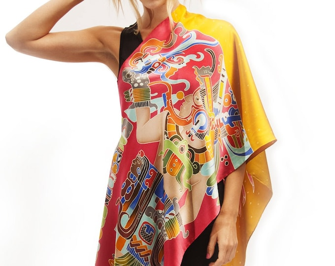 Silk scarf hand painted with Mayan warrior and Lobster