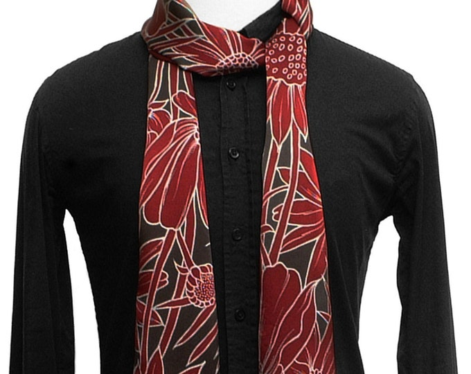 Hand painted silk scarf with burgundy flowers