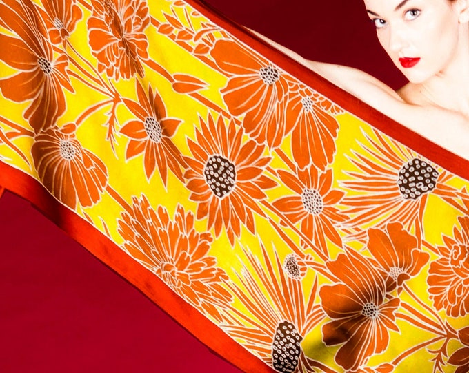 Hand made silk scarf with golden flowers