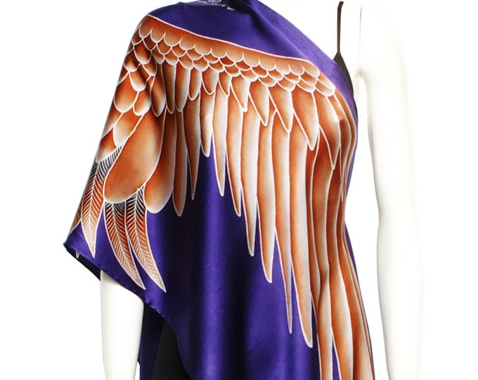 Summer hand painted silk scarf with large Brown crane wings