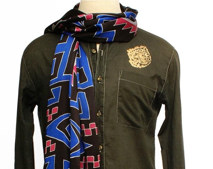 Blue silk scarf with unique tribal design