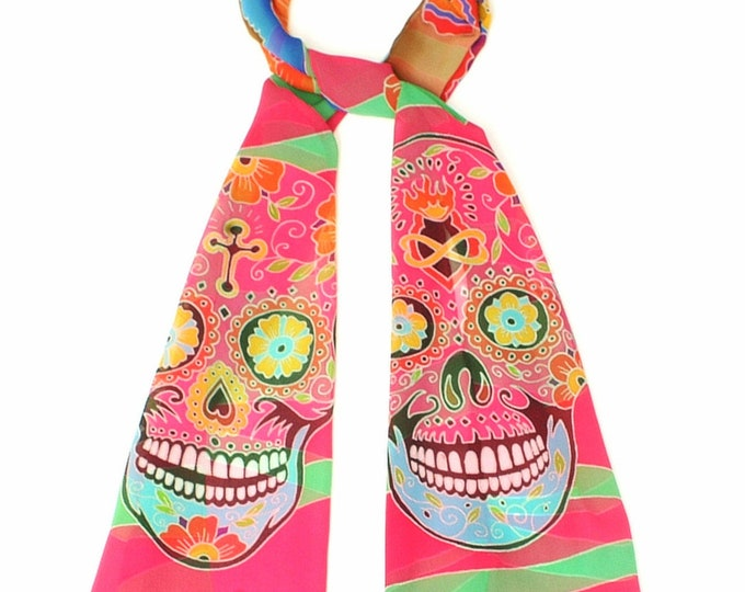 Day of the Dead silk scarf with Catrina and skulls. Hand painted scarf, skull art skull, colorful long chiffon silk wrap, Dia de los Metros