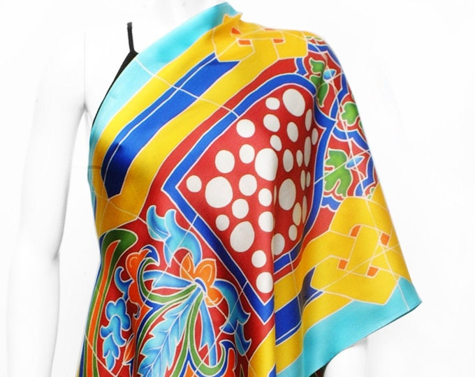 Hand painted silk scarf with tile pattern inspired by Seville Spain