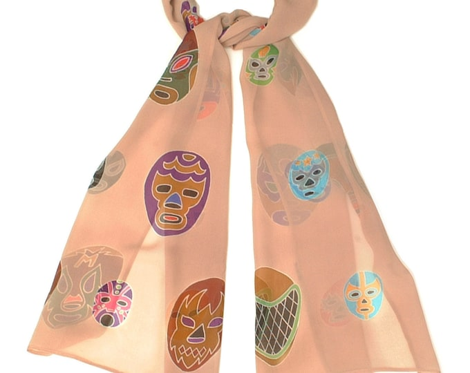 Hand painted silk scarf with wrestler masks.
