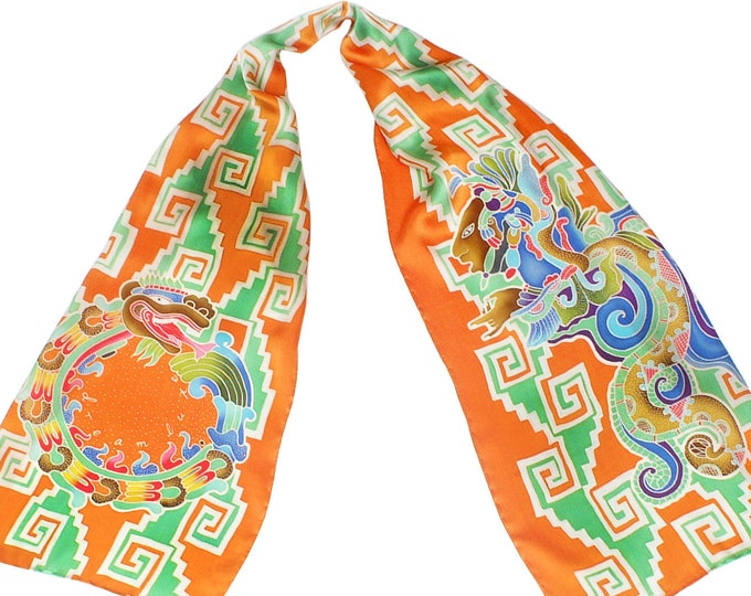 Hand painted silk scarf with the Mayan Vision serpent