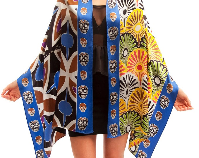 Flowers silk scarf with skulls and tile pattern