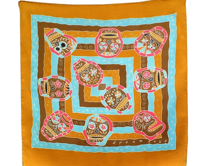 Day of the Dead skulls hand painted silk scarf.