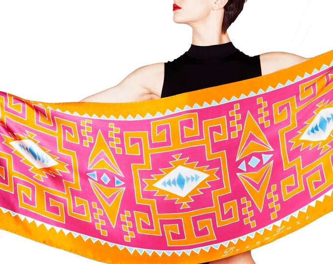 Hand made silk scarf with Tribal pattern