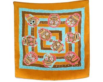 Day of the dead, Dia de Los Muertos skull hand painted silk scarf