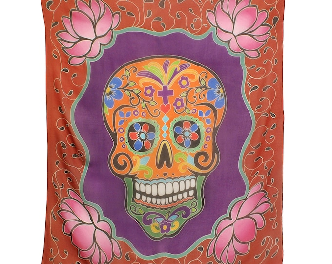 Hand painted skull silk scarf with beautiful lotus flowers