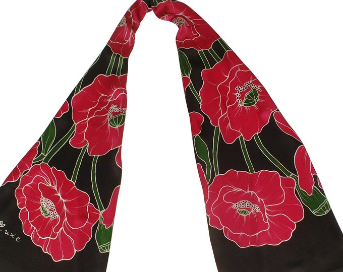 Red hand painted silk scarf large floral design