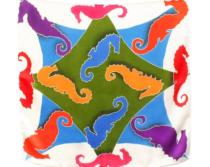 Seahorse hand painted silk scarf