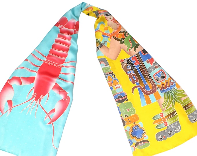 Large silk scarf with Mayan warrior and Lobster