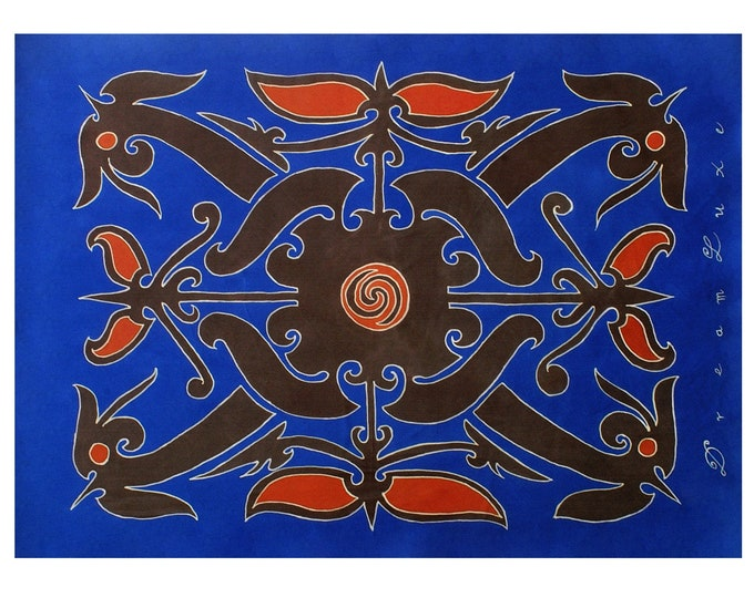 Mens or women hand painted silk scarf with tribal Dayak tattoo. Gift for him, boyfriend gift, gift for husband, scarf for men, mens silk