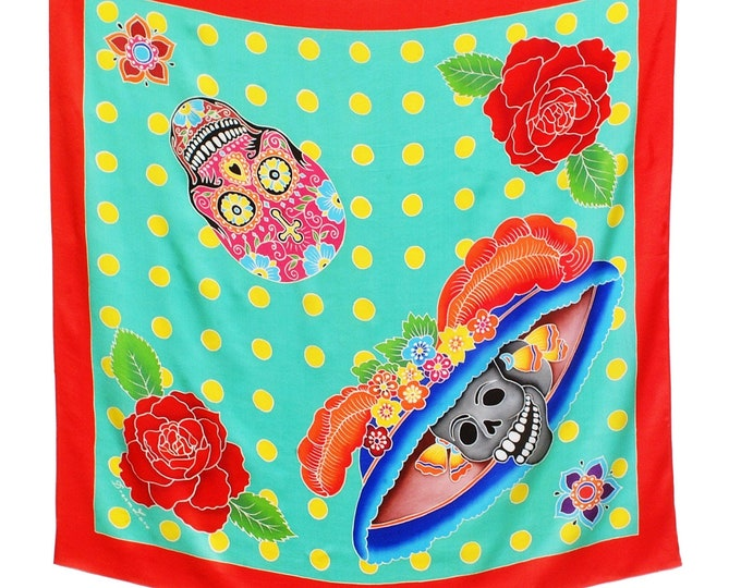 Hand painted silk scarf with day of the dead skulls and roses