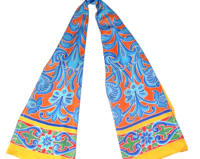 Yellow silk scarf with floral Spanish ceramic tile design