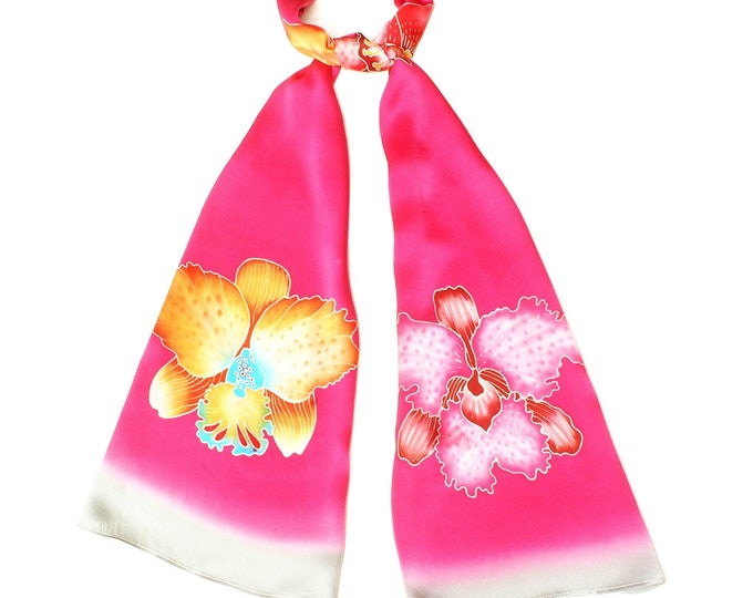 Orchid flower silk scarf with pink background