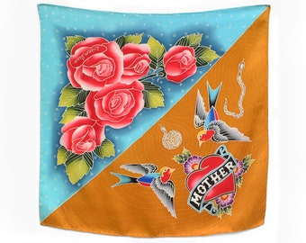 Unique hand painted silk scarf with roses and tattoo design