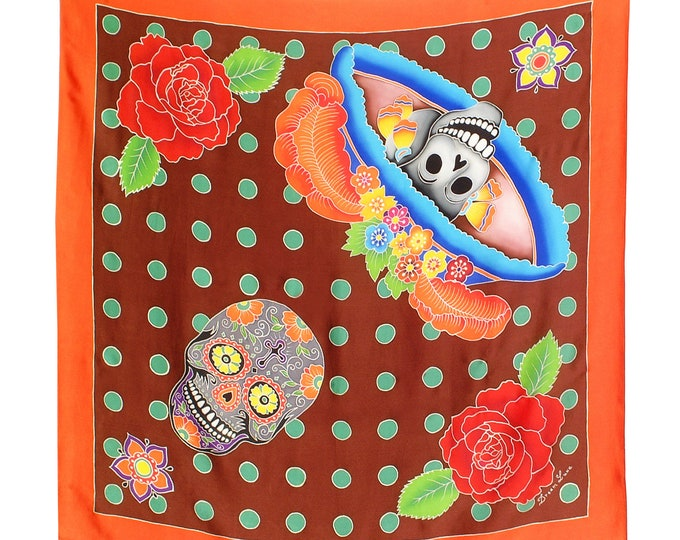 Orange silk scarf with Day of the Dead skulls and roses